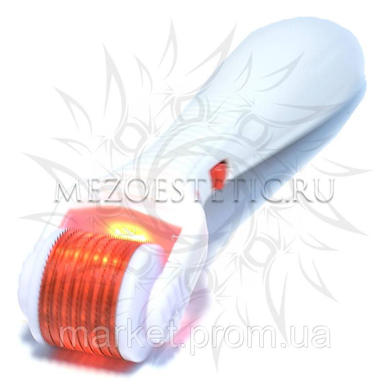 Мезороллер фотонный LED+Vibrating Dermaroller с титановыми микроиглами и красным светом, 540 игл