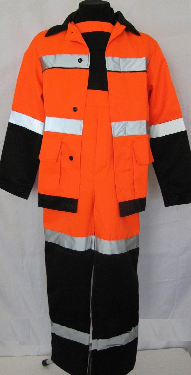 Костюм рабочий сигнальный, оранжевый, демисезонный. Модель 3