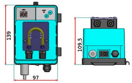 габаритный размеры насоса Microdos MP1SP–pH