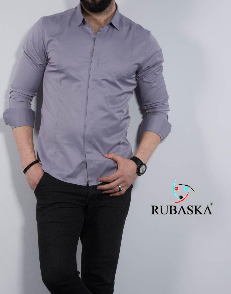 62d050f7ccf Светло-серая мужская рубашка с длинным рукавом из Турции