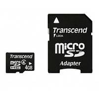 Карта памяти micro SDHC 4Gb Transcend (TS4GUSDHC4), Class 4, adapter
