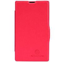 Кожаный чехол книжка Nillkin для Nokia X красный, фото 1