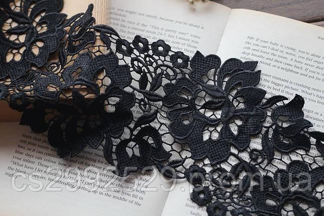 Тесьма-кружево цветы 14 метров.черный, фото 2
