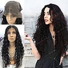 🖤 Парик черная волна на сетке с имитацией кожи из натуральных волос, фото 2
