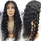 🖤 Парик черная волна на сетке с имитацией кожи из натуральных волос, фото 3