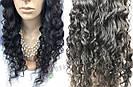 🖤 Парик черная волна на сетке с имитацией кожи из натуральных волос, фото 7