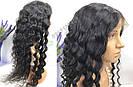 🖤 Парик черная волна на сетке с имитацией кожи из натуральных волос, фото 8