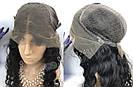 🖤 Парик черная волна на сетке с имитацией кожи из натуральных волос, фото 10