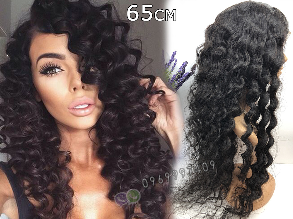 🖤 Парик черная волна на сетке с имитацией кожи из натуральных волос