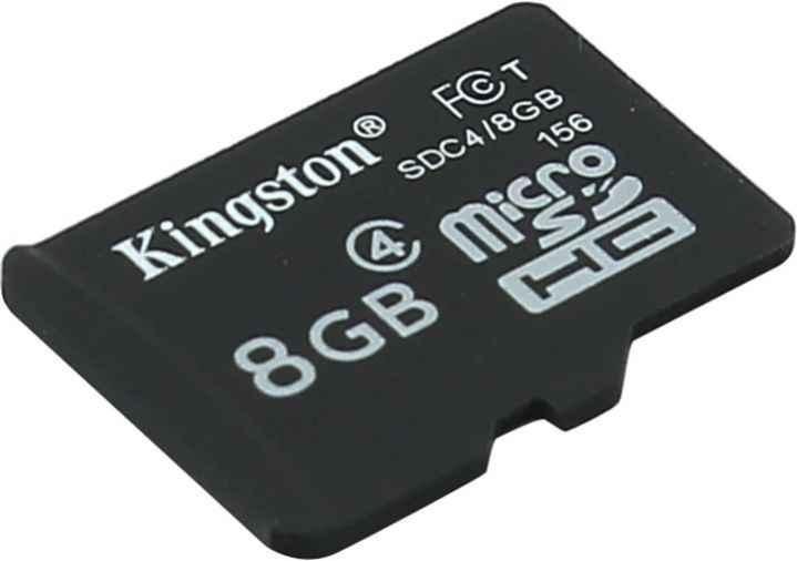 Карта памяти micro SDHC 8Gb Kingston (SDC4/8GB) Class 4