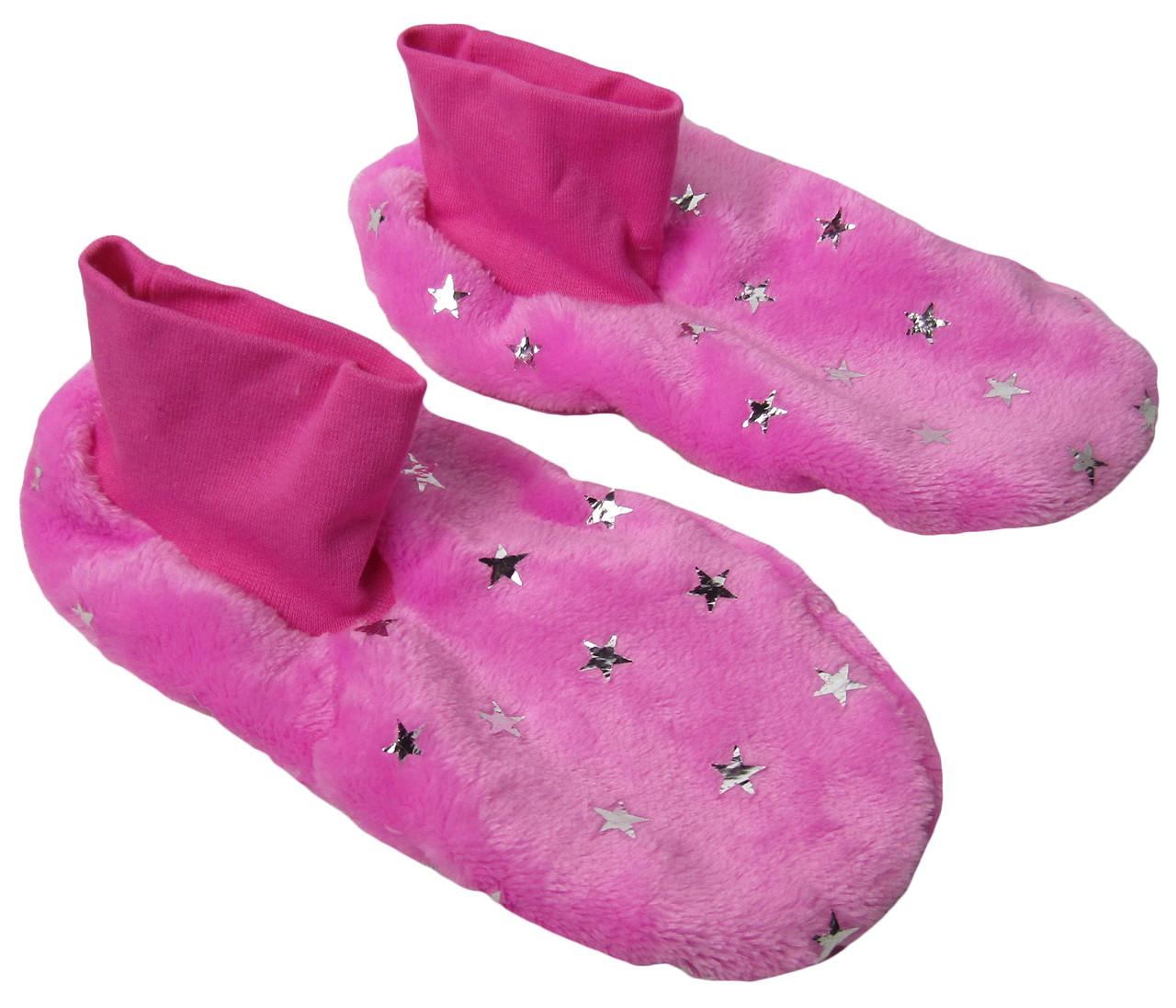 Тапочки - ботиночки женские домашние махровые 18205 Pink Звездочки длина подошвы 25 см