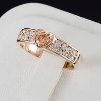 Живописное кольцо с кристаллами Swarovski, покрытие золото 0504