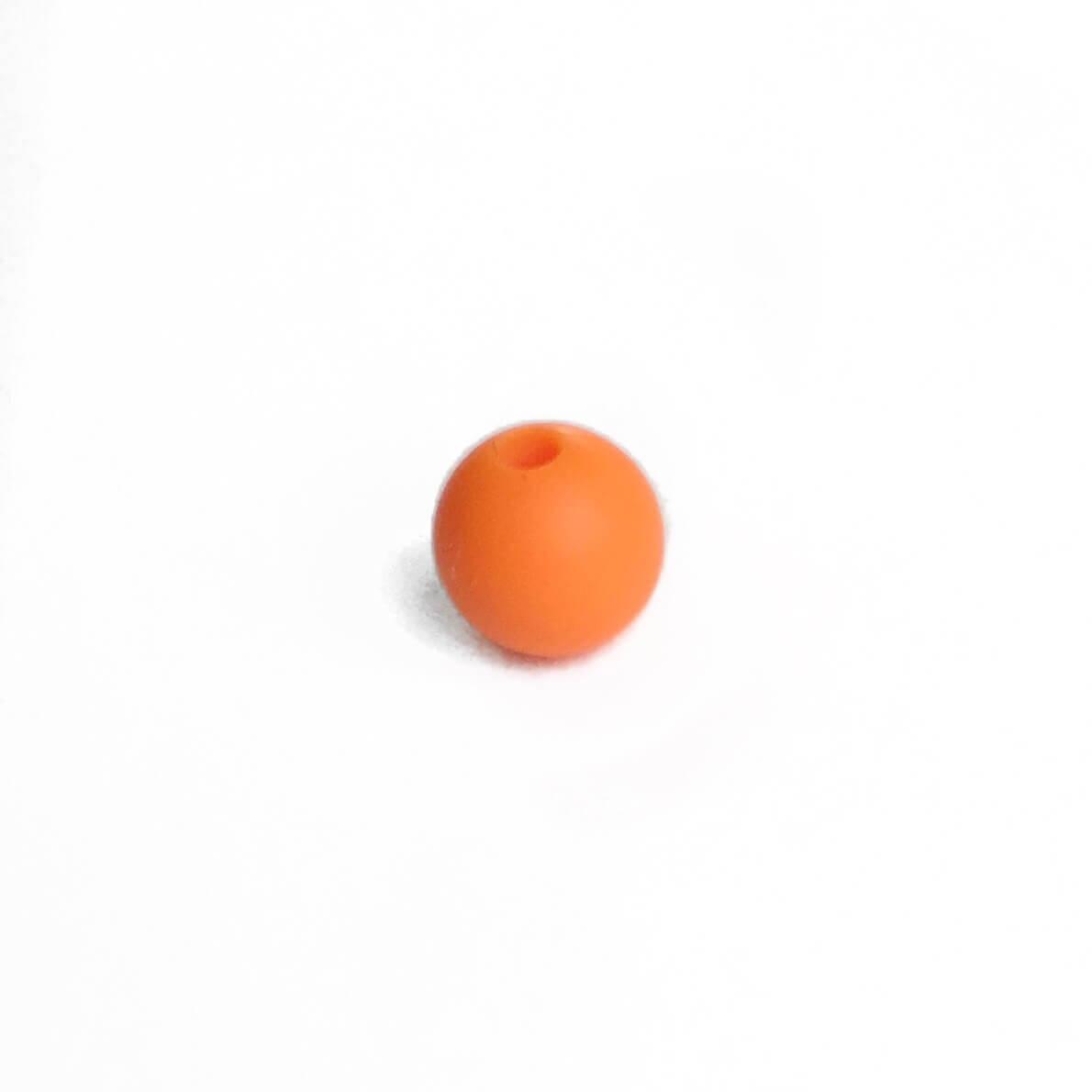 9мм (оранжевая) круглая, силиконовая бусина