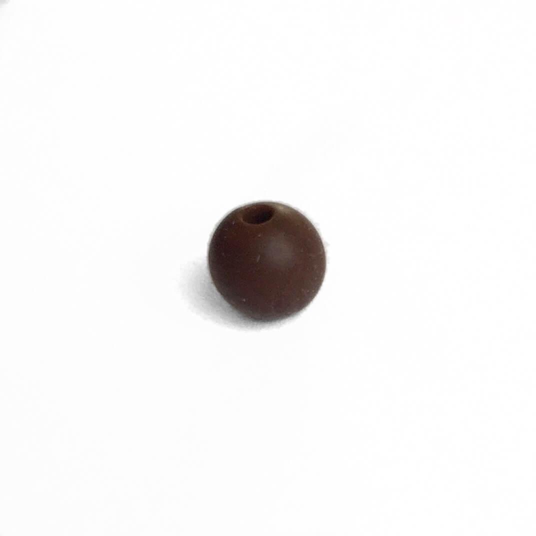 9мм (коричневый) круглая, силиконовая бусина