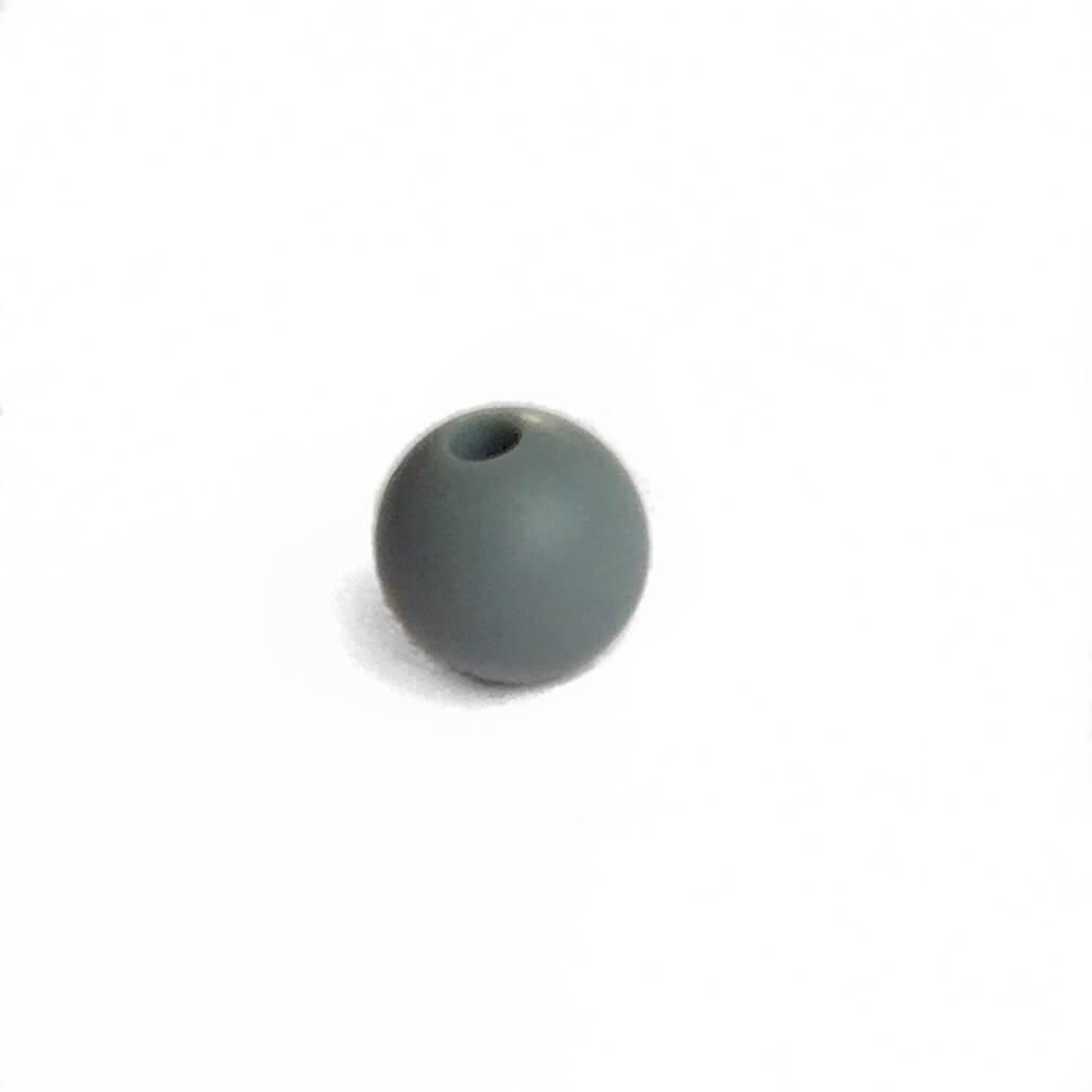 9мм (темно серый) круглая, силиконовая бусина