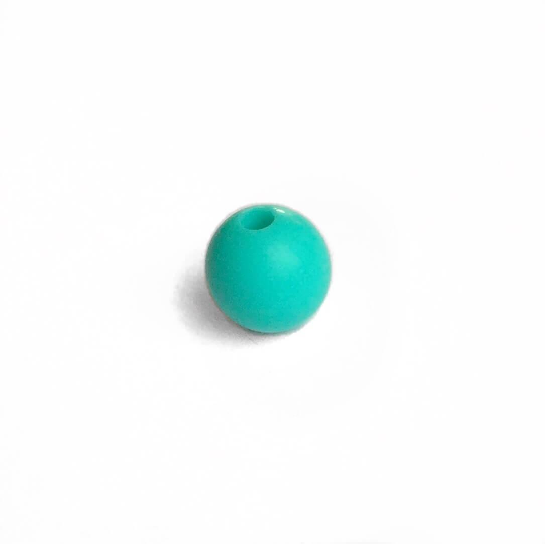9мм (бирюза) круглая, силиконовая бусина