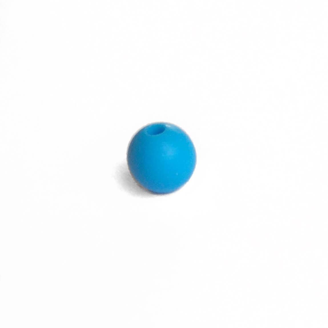 9мм (голубая) круглая, силиконовая бусина