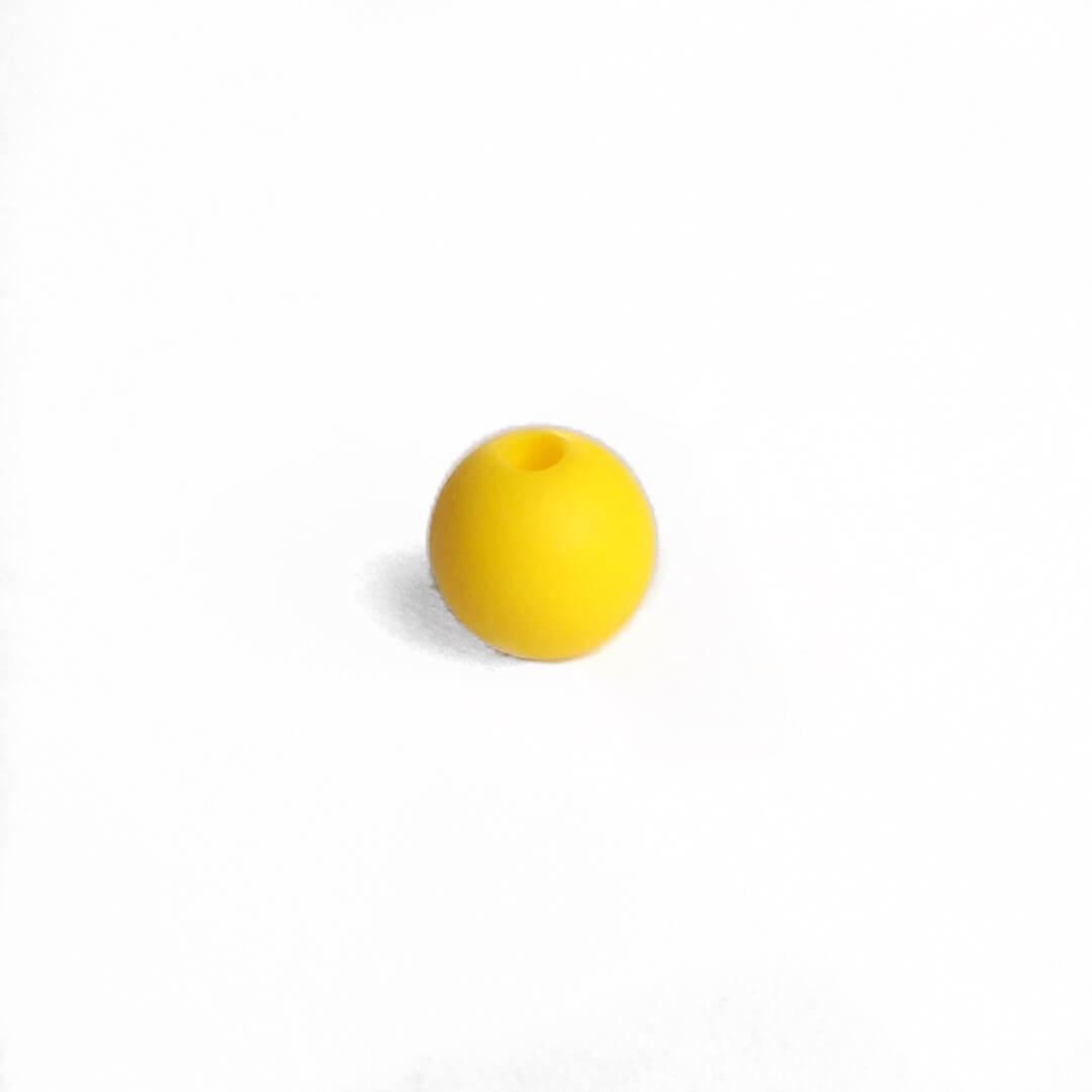 9мм (желтая) круглая, силиконовая бусина