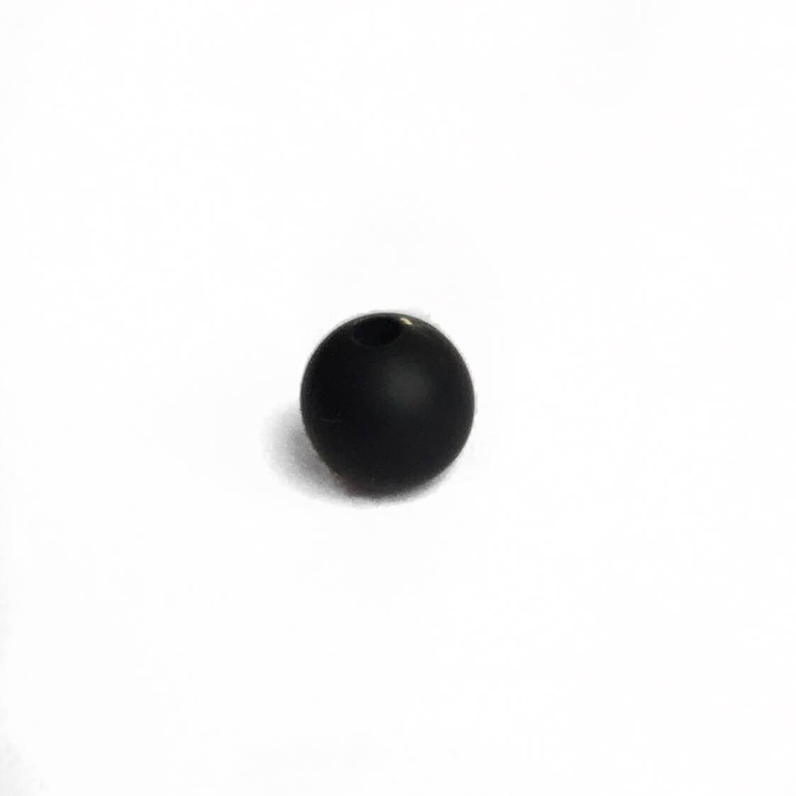 9мм (черный) круглая, силиконовая бусина