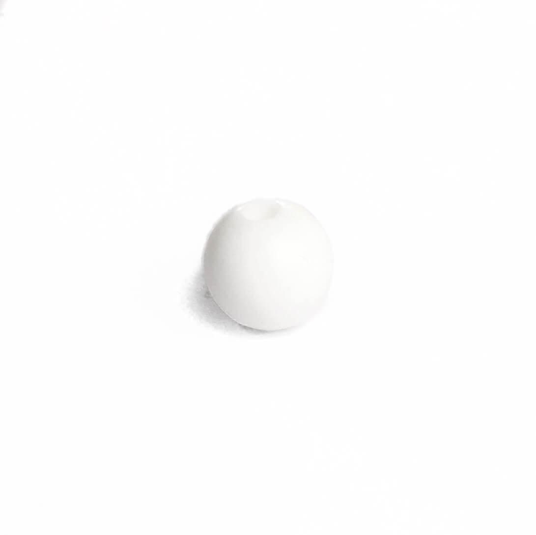 9мм (белая) круглая, силиконовая бусина