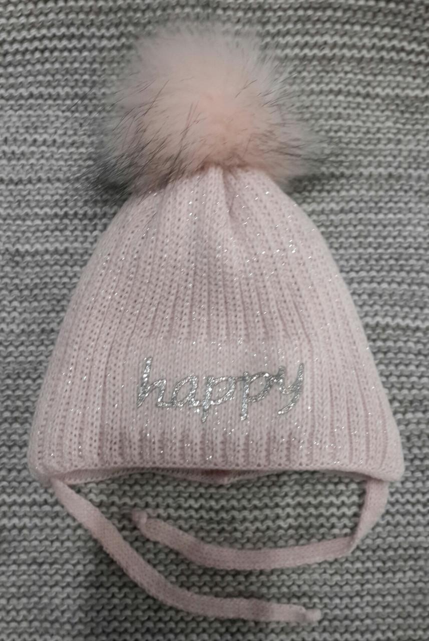 Шапка детская  на девочку зима полушерсть розовая Grans  (Польша) размер 38 40