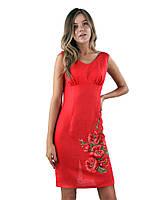 Платье-вышиванка из льна Маки (XS-2XL в расцветках) fdbc10ceae813