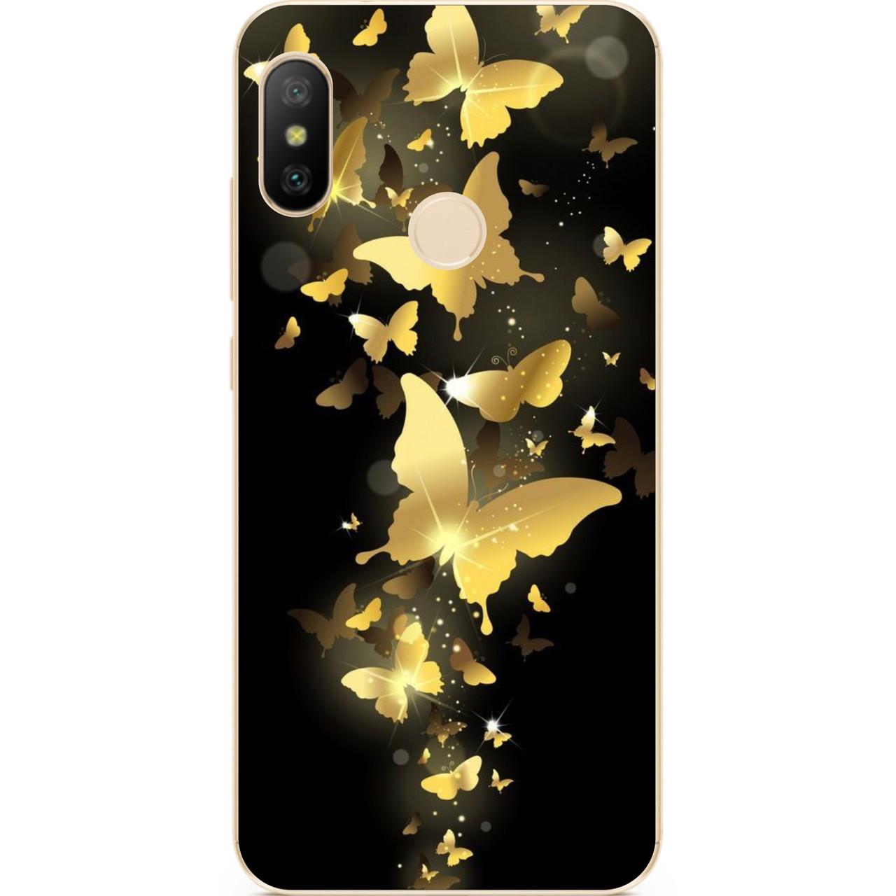 Силиконовый чехол для Huawei P Smart Plus с рисунком Золотые бабочки