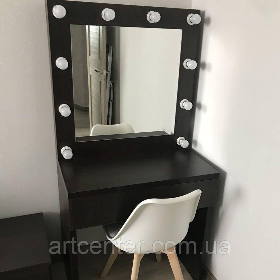 Стильный стол визажиста черного цвета, стол для макияжа с зеркалом