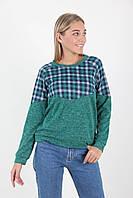 Комбинированная женская зеленая кофта размер 44,46,48,50,52