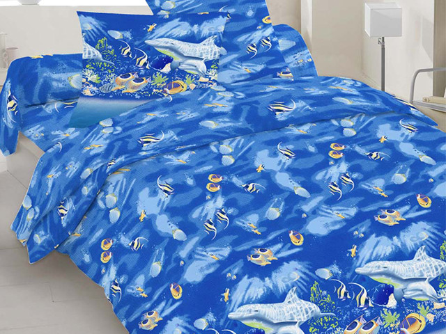 Полуторный комплект постельного белья 10-0192 blue