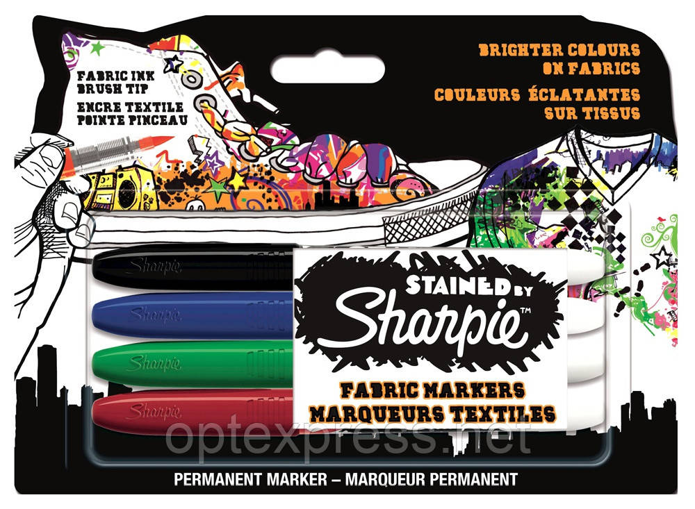 Sharpie Stained  Фломастеры  для ткани 4 шт Paper Mate