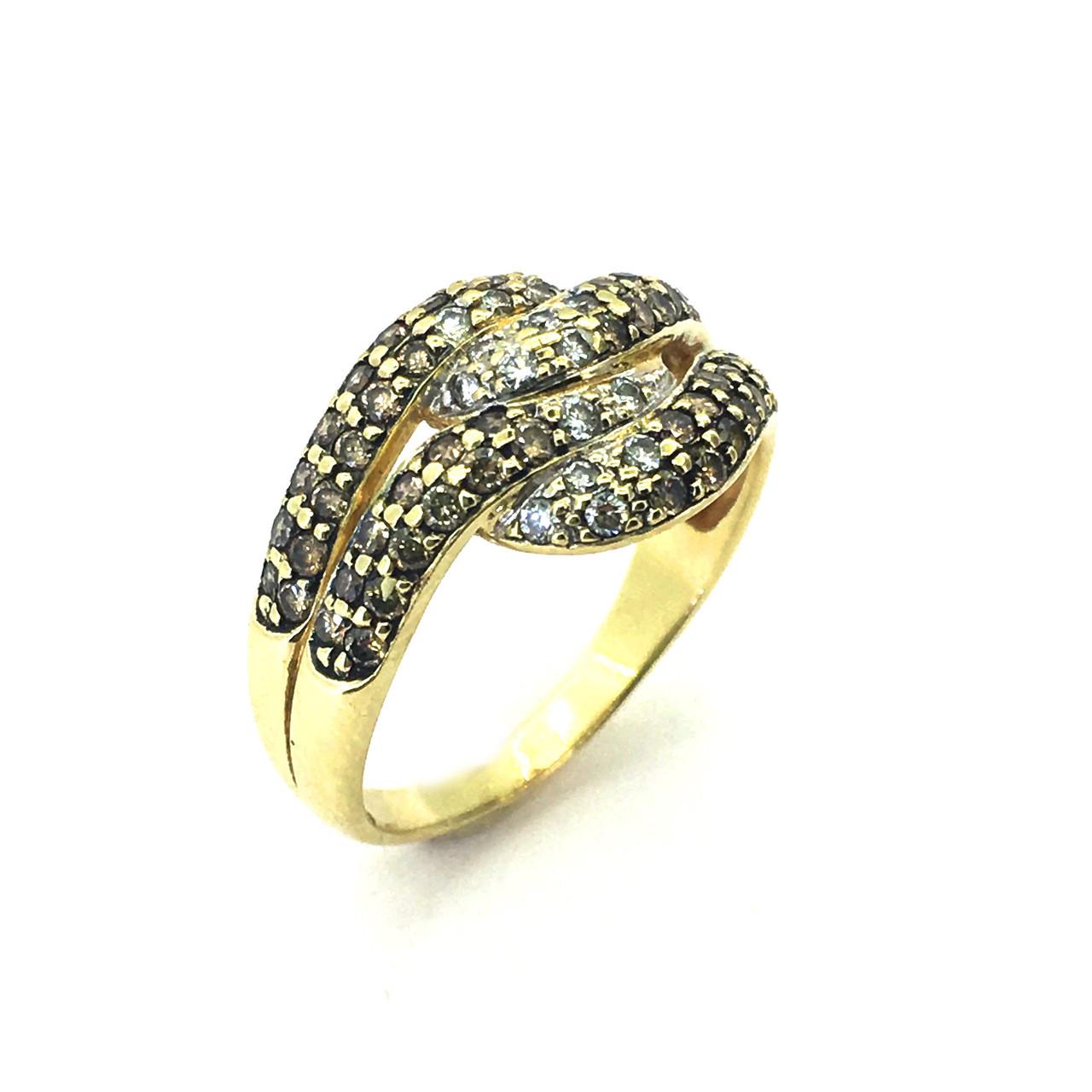 Золоте кільце з діамантами, 19 розмір , жовте золото