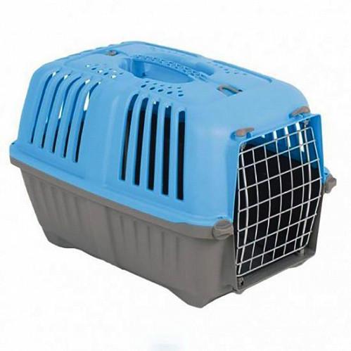 Переноска Pratico 2 Пратико 2 для кішок і собак блакитна (55х36х36см, до 18кг) метал двері