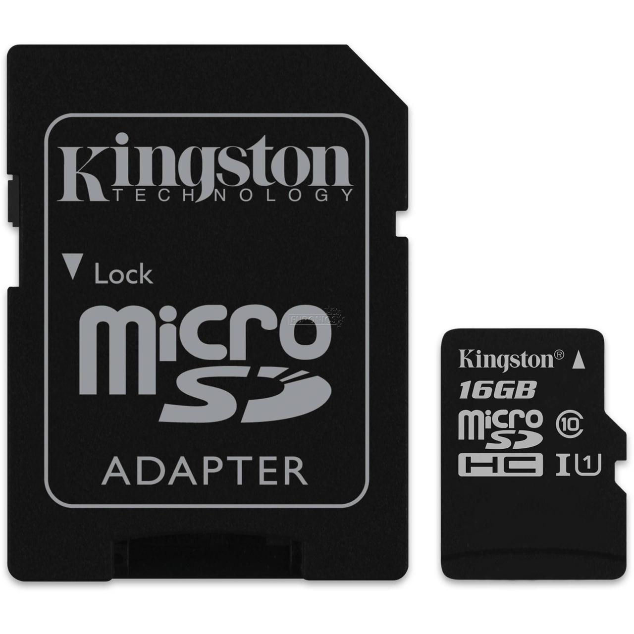 Карта памяти micro SDHC 16Gb Kingston Canvas Select C10 UHS-I (SDCS/16GBSP)