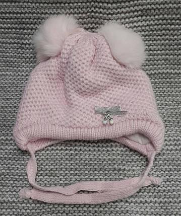 Шапка детская  на девочку зима розовая ELF KIDS (Украина) размер 40, фото 2