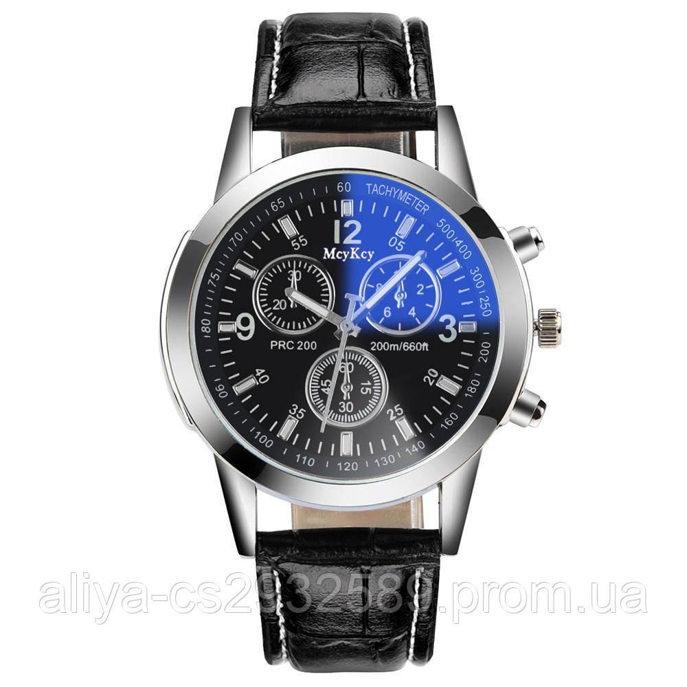 Кожаные мужские часы MsyKsy в черном цвете