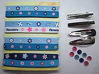 Репсовые бантики. Набор из лент 5 расцветок (по 90 см каждой) + заколки и камешки (как на фото), фото 1