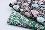 """Ткань хлопковая """"Анемоны розовые и бирюзовые с серыми ветками"""" на чёрном (№1838), фото 7"""