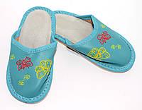 Домашние детские кожаные тапочки