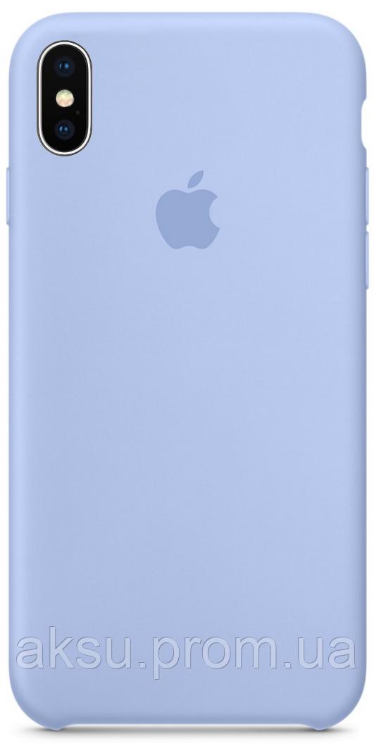 Чехол накладка для iPhone XS Max Silicone Case Светло-Голубой