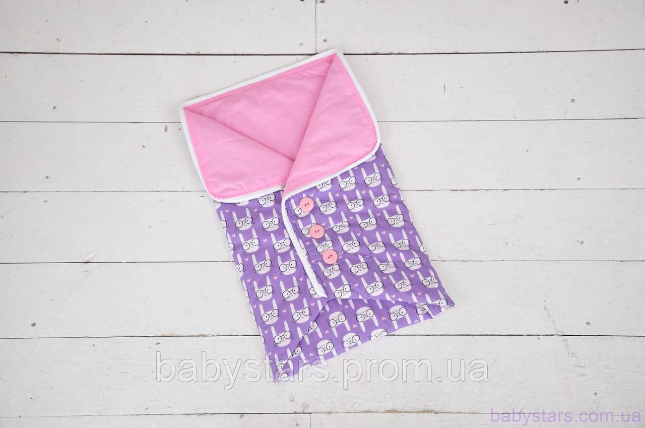 Конверт-одеяло для новорожденного с пуговицами, Funny rabbits