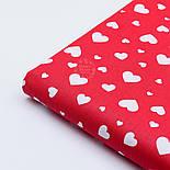 """Ткань хлопковая """"Сердечка трёх размеров"""" белые на красном №1841, фото 7"""