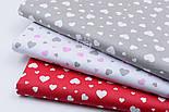"""Ткань хлопковая """"Сердечка трёх размеров"""" белые на красном №1841, фото 6"""
