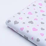 """Ткань хлопковая """"Сердечка трёх размеров"""" розово-серые на белом №1842, фото 6"""