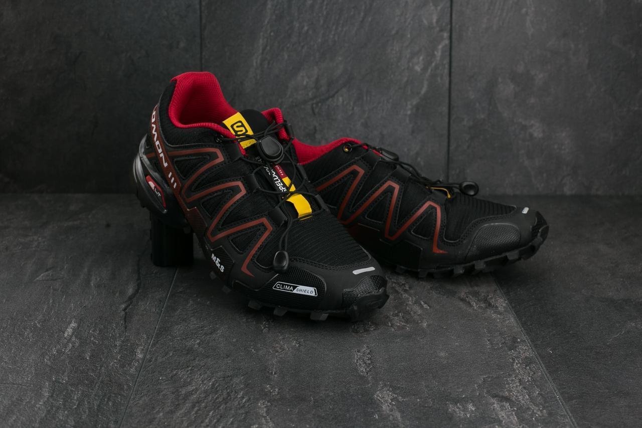 Кроссовки A 201-9 (Salomon Speed Cross 3) (весна-осень, мужские, резина, черно-красный)