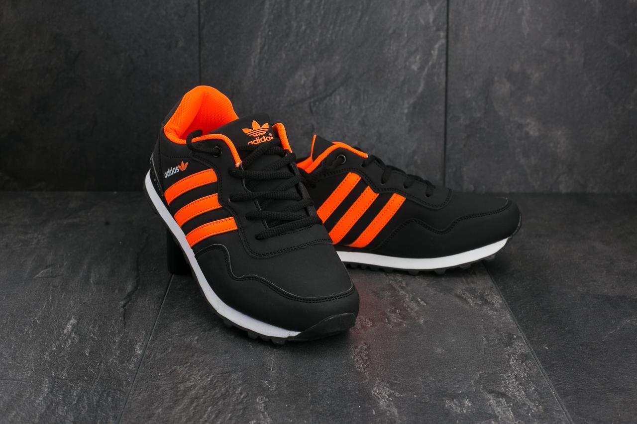 Кроссовки A 1807-4  (Adidas Haven Collegiate) (весна-осень, мужские, кожзам, черно-оранжевой)