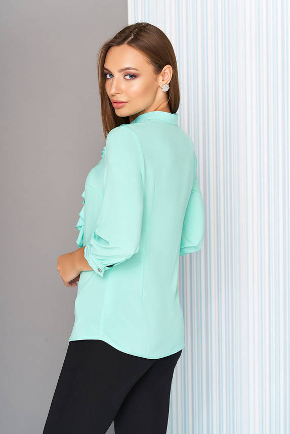 Офисная блузка с воланом на пуговицах мятная, фото 2