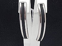 Серебряные серьги с каучуком. Артикул 930023С, фото 1