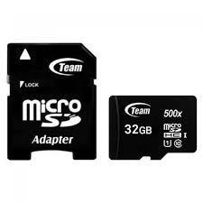 Карта памяти micro SDHC 32Gb Team UHS-I Black (TUSDH32GCL10U03), adapter