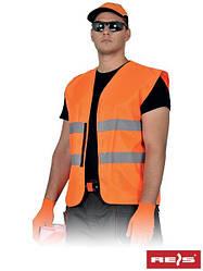 Сигнальний жилет, помаранчевий, 100% поліестер, на липучці, EN20471, Reis